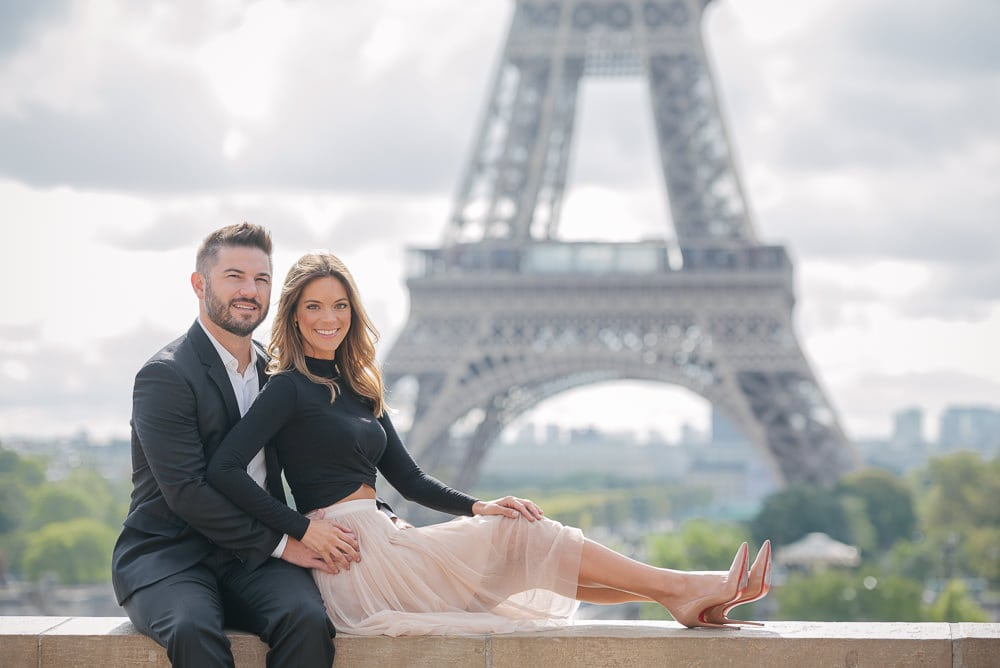 Beautiful portrait of a young couple on their trip to Paris
